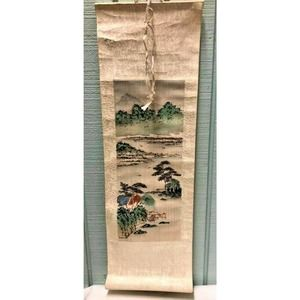 Vintage Asian Painting On Silk Scroll